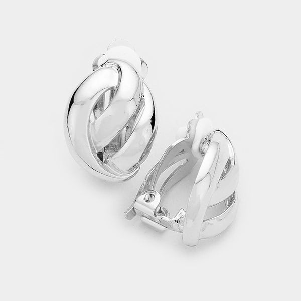 Knotted Metal Clip On Earrings