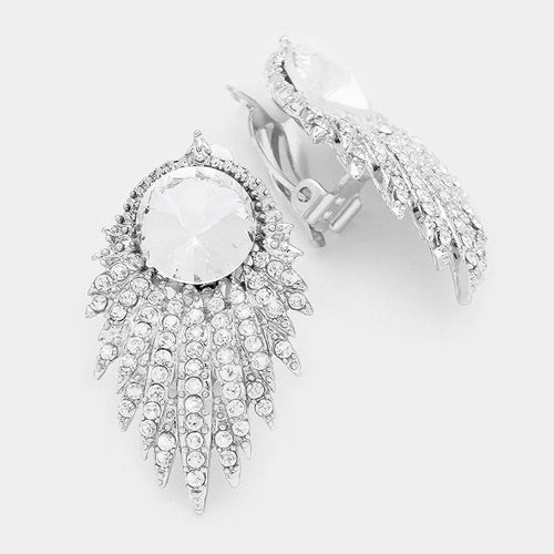 Round Crystal Accented Clip On Earrings