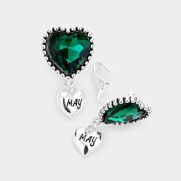 May _ Birthstone Heart Dangle Clip On Earrings