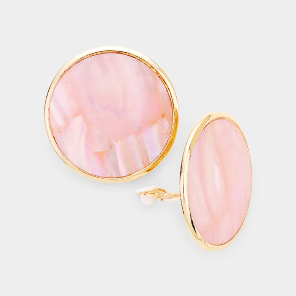 Natural Stone Geometric Round Clip On Earrings