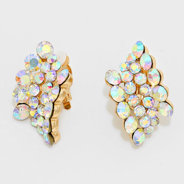 Bubbly Rhinestone Clip On Earrings
