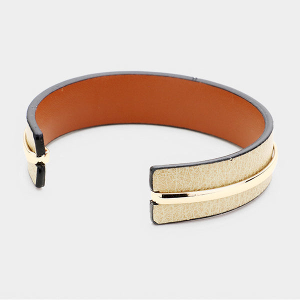 Metal Accented Faux Leather Cuff Bracelet