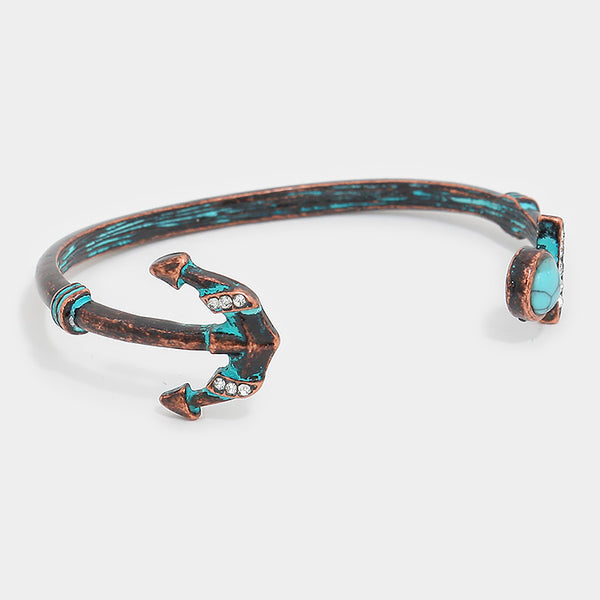 Metal Anchor & Turquoise Tip Cuff Bracelet