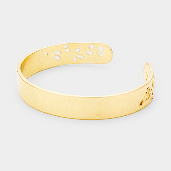 Leaf Twig Cut Out Metal Cuff Bracelet