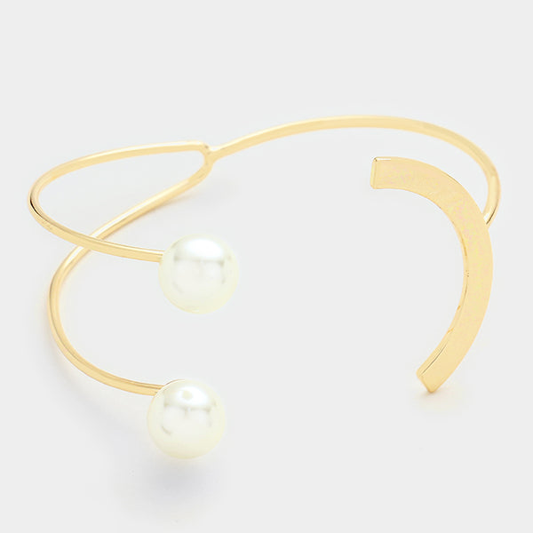 Pearl Abstract Cuff Bracelet