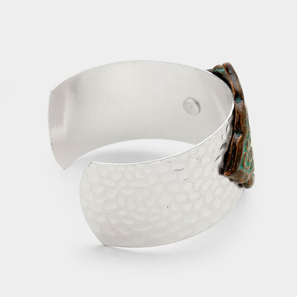 Embossed Filigree Pattern Metal Cuff Bracelet