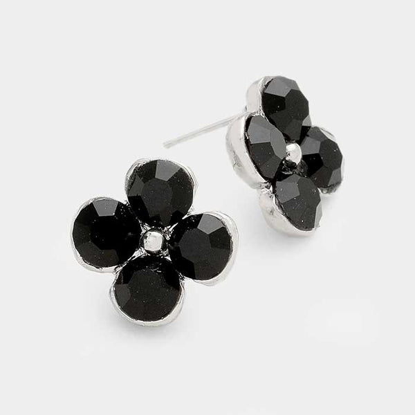 Genuine Austrian Crystal Clover Stud Earrings