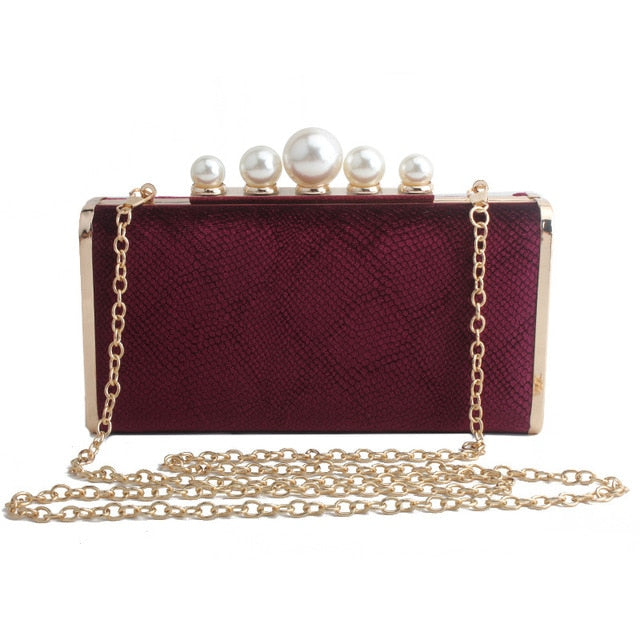 Pearl Buckle High-End Clutch Bag