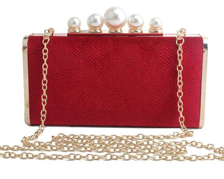 Angel Rose Box Style Pearl Chain Clutch Bag