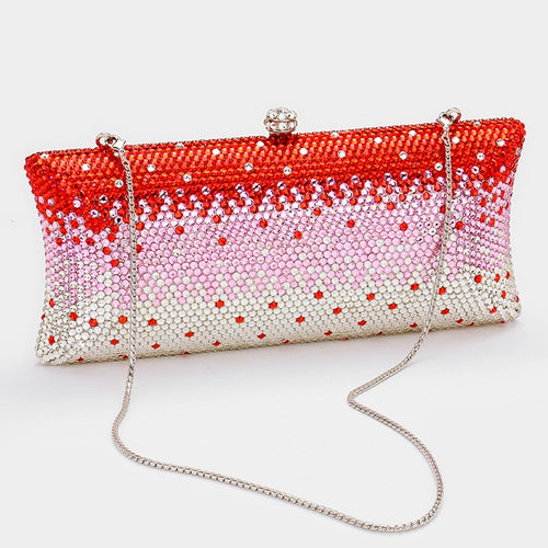 Ombre Crystal Hard Case Evening Clutch Bag