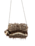Bladina Multi Brown Faux Fur Clutch Bag