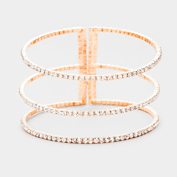 3Row Split Layer Round Crystal Detail Cuff Evening Bracelet