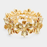 Marquise Floral Crystal Stretch Evening Bracelet