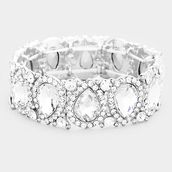 Teardrop Crystal Rhinestone Trim Stretch Evening Bracelet