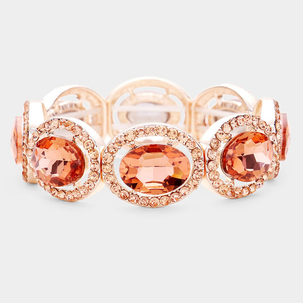 Crystal Rhinestone Oval Stretch Evening Bracelet