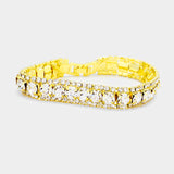 Marquise Crystal Rhinestone Trim Evening Bracelet
