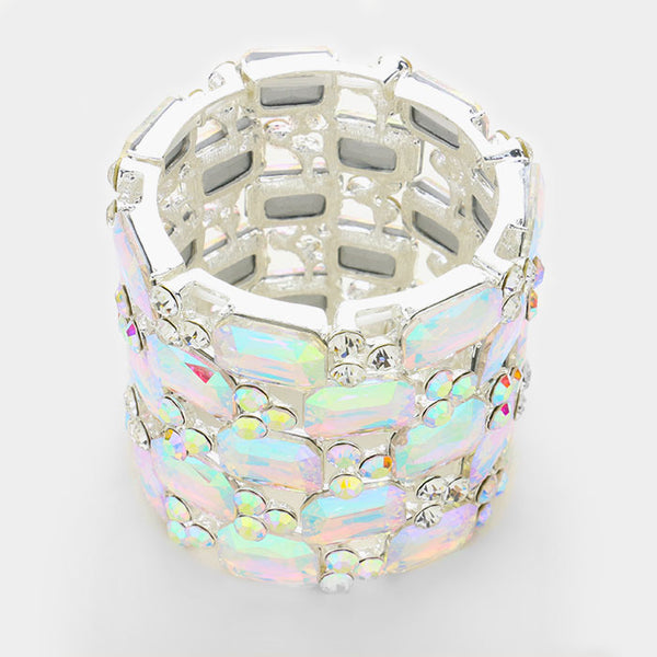 Emerald Cut Crystal Rhinestone Wide Stretch Bracelet
