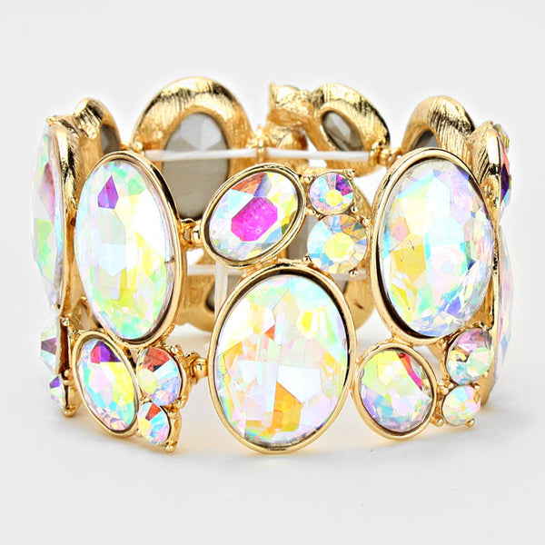 Oval Crystal Rhinestone Stretch Bracelet