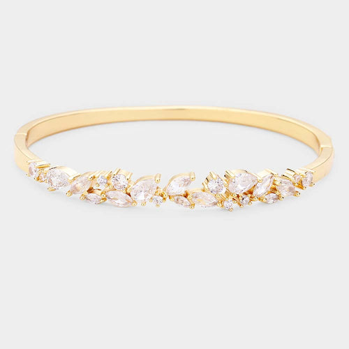 Gold Plated Marquise Cubic Zirconia Embellished Evening Bracelet