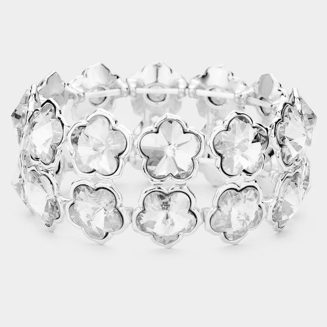 2Rows Flower Stone Cluster Evening Stretch Bracelet