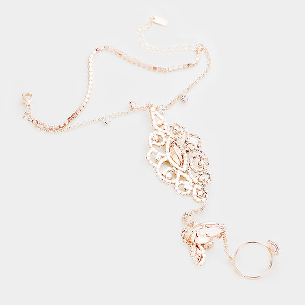 Double Layered Oval Crystal Hand Chain Evening Bracelet