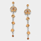 Crystal Rhinestone Dangle Evening Earrings