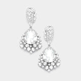 Chunky Crystal Rhinestone Teardrop Bubble Evening Earrings