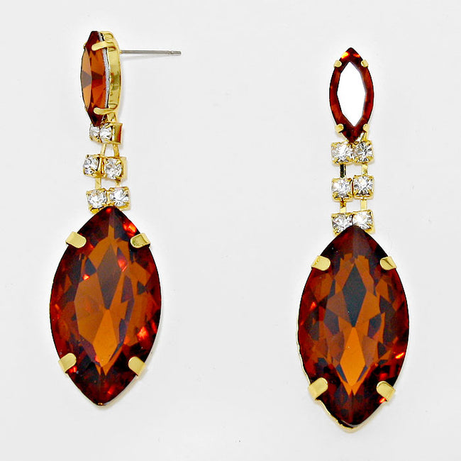 Marquise Rhinestone Drop Evening Earrings