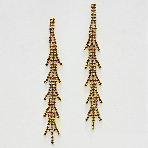 Crystal Elongated Tree Evening Earrings
