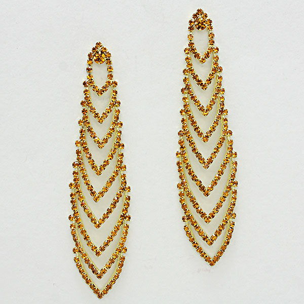 Crystal Elongated Chevron Drop Earrings