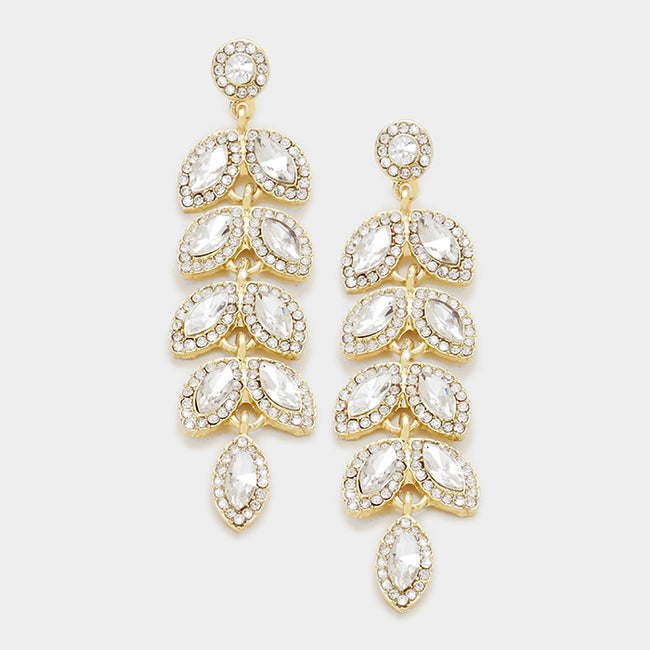 Marquise Crystal Oval Leaf Cluster Vine Evening Earrings