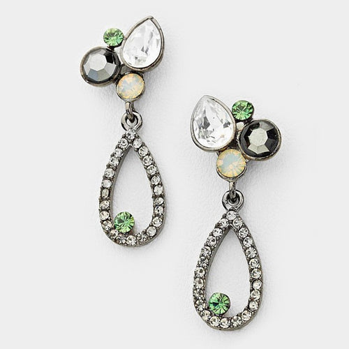 Glass Crystal Bubble Hoop Evening Earrings