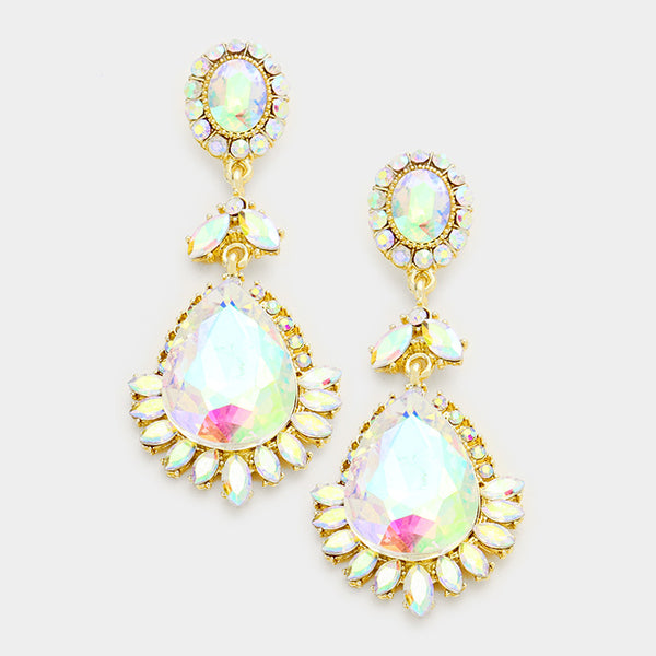 Glass Crystal Teardrop Earrings