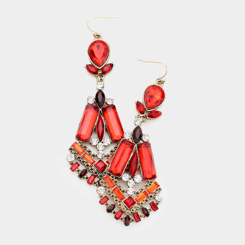 Rectangle Crystal Statement Chandelier Earrings