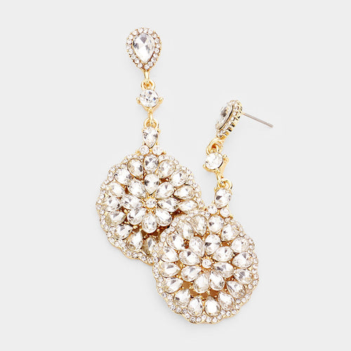 Pave Trimmed Crystal Teardrop Cluster Evening Earrings