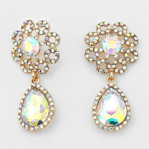 Teardrop Accented Crystal Evening Earrings