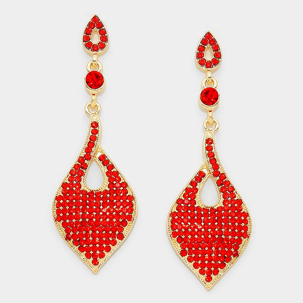 Crystal Rhinestone Pave Evening Earrings