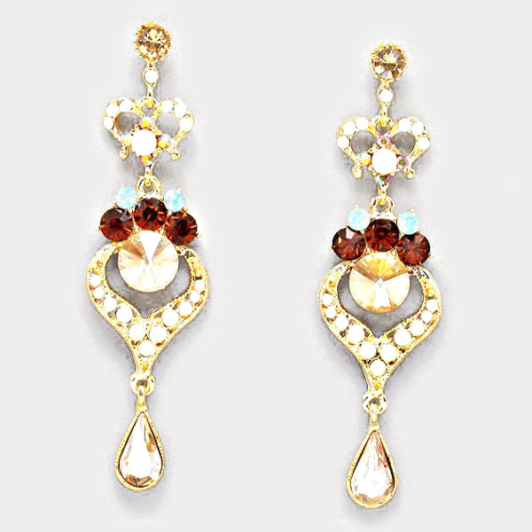 Crystal Rhinestone Heart Teardrop Dangle Evening Earrings