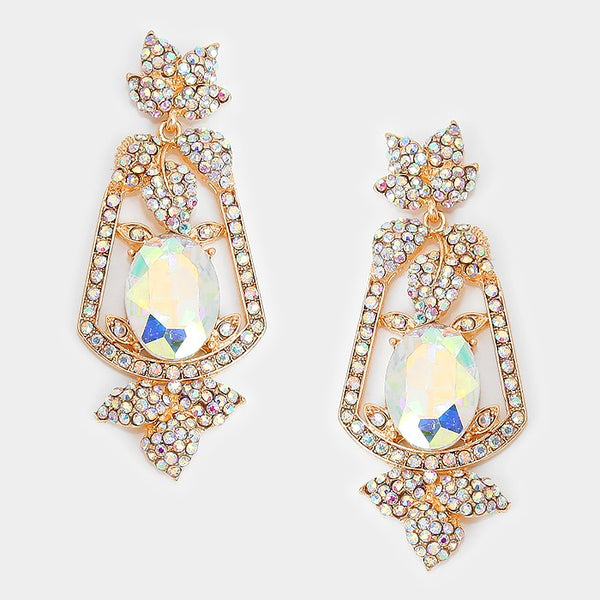 Oval Crystal Rhinestone Leaf Evening Earrings