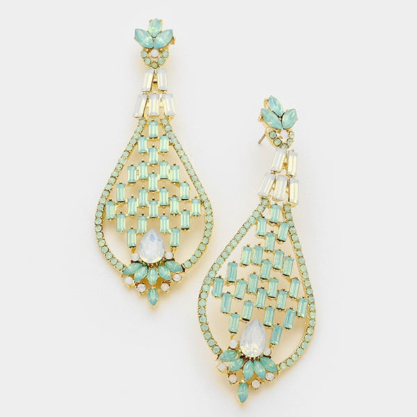 Rhinestone & Glass Crystal Evening Earrings