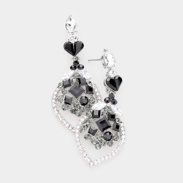 Multi Shape Heart Dangle Evening Earrings