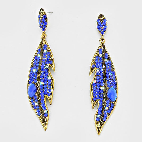 Crystal Rhinestone Pave Leaf Drop Evening Earrings