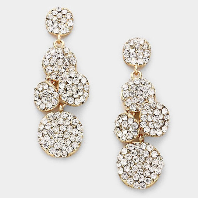 Crystal Pave Disc Cluster Evening Earrings
