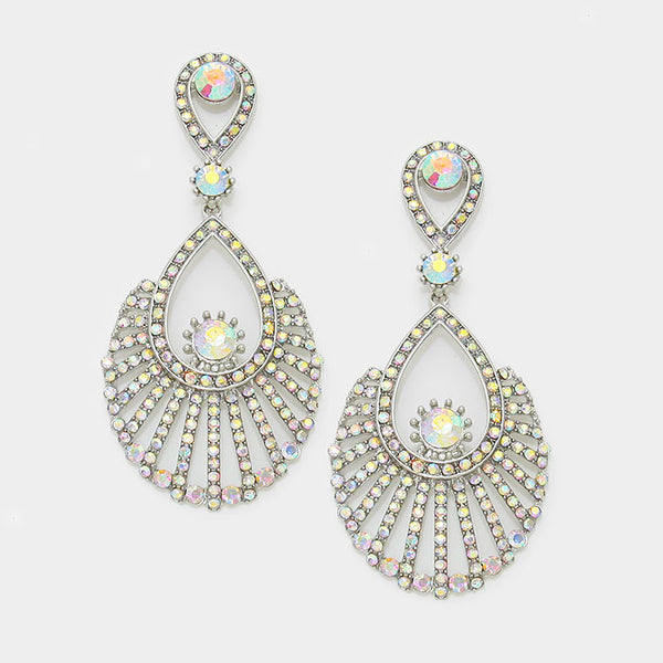 Crystal Rhinestone Embellished Teardrop Hoop Evening Earrings
