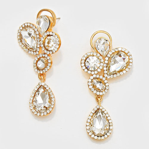 Petal Teardrop Crystal Rhinestone Dangle Evening Earrings