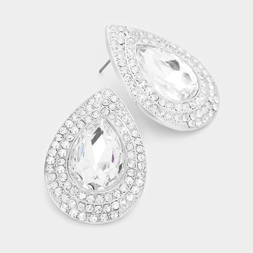 Rhinestone Trim Teardrop Glass Crystal Earrings