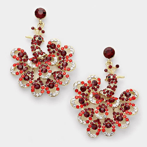 Rhinestone Peacock Evening Earrings