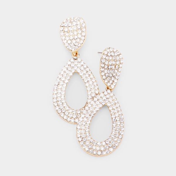 Rhinestone Pave Cut Out Teardrop Dangle Evening Earrings