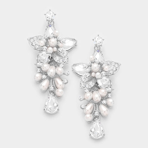 Floral Glass Crystal With Pearl Evening Earrings
