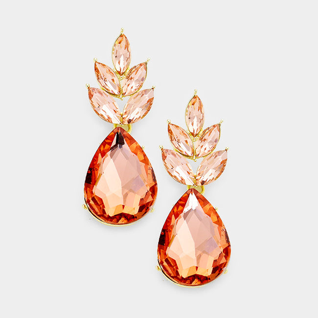 Marquise Crystal Cluster Teardrop Dangle Evening Earrings
